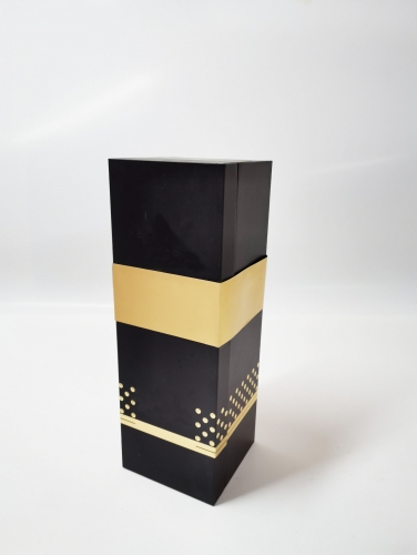Black soft touch paper gold card Girdle Flocking vac tray Wine box