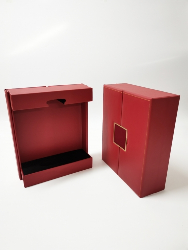 Red Pu Leather Sewing double door Metal Logo wine boxes