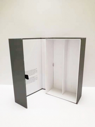 Gray special paper book type magnetic turnover wine box