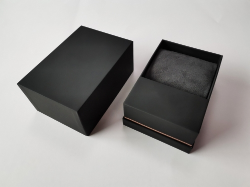 Black Soft touch paper Top and lid Watch box