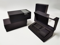 Transparent acrylic black Soft touch paper EVA Inner tray strap set case Watch boxes
