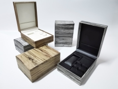 Hand Interchangeable Strap Box Black Wood grain PU leather Exhibition Set Watch boxes