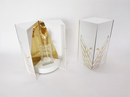 Luxury gold board double open door perfume bottle paper packaging box
