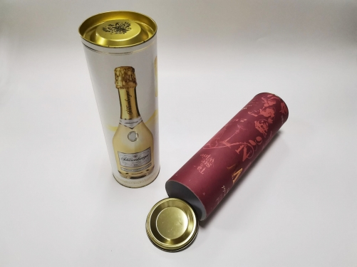 Custom round paper packaging round cardboard tube whisky wine bottle gift